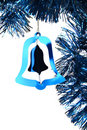 Blue shiny Christmas tinsel bell Royalty Free Stock Photos
