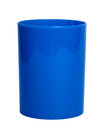 Blue shiny plastic cup for pencil stock image coffee tea or Stock Image