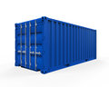 Blue shipping container isolated on white background d render Royalty Free Stock Images