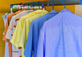 Blue shirt with white stripes wait for dry during daytime Stock Photography