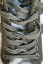 Blue shoelace a close up view of on the sport shoe Royalty Free Stock Photography