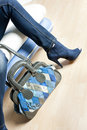 Blue shoes and with handbag Royalty Free Stock Images