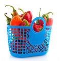 Blue shopping bag with vegetables Stock Images