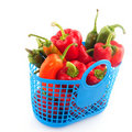Blue shopping bag with vegetables Royalty Free Stock Image
