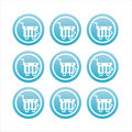 Blue shopping baskets signs Stock Photos