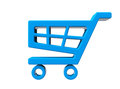 Blue shopping cart icon on a white background Royalty Free Stock Photo