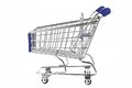 Blue Shopping Cart Isolated On White Royalty Free Stock Photo