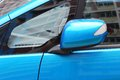 Blue side mirror a photo taken on a car folded Royalty Free Stock Photo