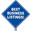 Blue signboard text best business listings white background concept listing business online Royalty Free Stock Images