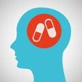 Blue silhouette head medicine capsule icon design Royalty Free Stock Photo