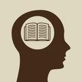 Blue Silhouette Head Open Book...