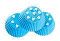 Blue silicone baking cups. Stock Image