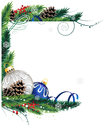 Blue and silver christmas ornaments baubles with ribbon fir tree branches on white background Royalty Free Stock Photography