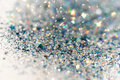 Blue and Silver Frozen Snow Winter Sparkling Stars Glitter background. Holiday, Christmas, New Year abstract texture Royalty Free Stock Photo
