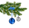 Blue silver glass balls on Christmas tree Stock Photography