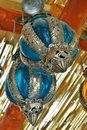 Blue and silver hanging glass lanterns in detail