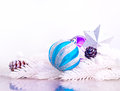 Blue and silver xmas decoration with fur tree white branch cones Royalty Free Stock Photos