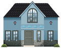 A blue single detached house illustration of on white background Stock Photos