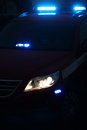 Blue sirens police car at night with on Stock Photo