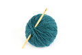 Blue skein and crochet hook Royalty Free Stock Photo
