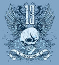 Blue skull and wings design Royalty Free Stock Photos