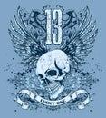 Azul cráneo y diseño