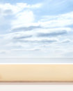 Blue sky balcony and sea summer background with a blank copy space Stock Photo