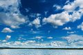 Blue Sky With Clouds And Marsh