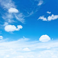 Blue sky clouds summer day background Royalty Free Stock Images