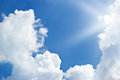 Blue sky clouds and sunbeam Royalty Free Stock Photo