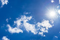 Blue sky with fluffy clouds and bright sunshine Royalty Free Stock Photo
