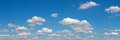 Blue sky panorama gorgeous white clouds in the panoramic picture with copy space at left top corner Royalty Free Stock Photos