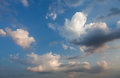 Blue sky and puffy clouds dramatic Royalty Free Stock Image