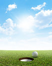 Blue Sky And Putting Green Royalty Free Stock Photo