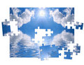 Blue sky and of puzzle Royalty Free Stock Images