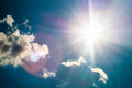 blue sky with sun flares in sunny Royalty Free Stock Photo