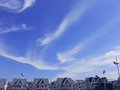 The blue sky white clouds villa Stock Photography