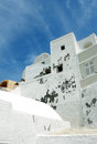 Blue sky and white greek house in oia town on santorini island Royalty Free Stock Photos