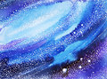 Blue sky world, universe watercolor painting background Royalty Free Stock Photo