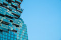 Blue skyscraper building construction site Royalty Free Stock Photo