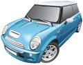 Blue small car Royalty Free Stock Image