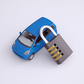 Blue small car and combination lock d render on gray background Royalty Free Stock Image
