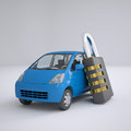Blue small car and combination lock d render on gray background Royalty Free Stock Photos