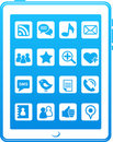 Blue  smart phone social media icons Stock Photography
