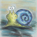 Blue snail cartoon green in the shell Stock Photo