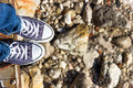 Blue sneakers on the beach Royalty Free Stock Photo