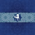 Blue snow pattern christmas with horse and snowflakes vector illustration Stock Photos
