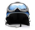 Blue snowboard helmet with goggles on white Stock Photos