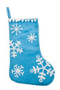 Blue snowflake Christmas stocking Royalty Free Stock Photo
