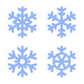 Blue Snowflake Icons Set on White Background Royalty Free Stock Photo
